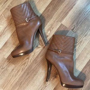 Michael Kors tan leather buckle stiletto boots